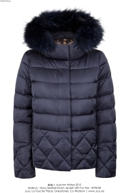 JuJu - Mabrun Navy Quilted Jacket with Fur - High Res